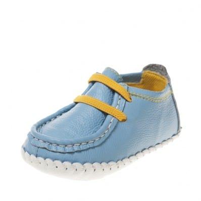 Little Blue Lamb - Zapatos de bebe primeros pasos de cuero niños | Barcos azul