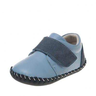 Little Blue Lamb - Zapatos de bebe primeros pasos de cuero niños | Zapatillas de deporte azul velcro gris