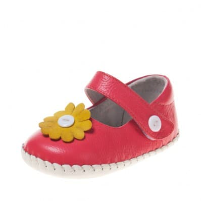 Little Blue Lamb - Baby girls first steps soft leather shoes | Hot pink babies
