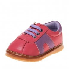 Little Blue Lamb - Krabbelschuhe Babyschuhe squeaky Leder - Mädchen | Hot pink und blau sneakers