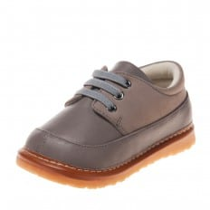 Little Blue Lamb - Squeaky Leather Toddler boys Shoes | Grey sneakers
