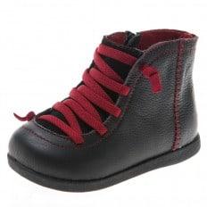 Little Blue Lamb - Zapatos de suela de goma blanda niños   Botines negro cordones rojo