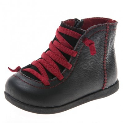 Little Blue Lamb - Soft sole boys Toddler kids baby shoes | Black bootees red laces