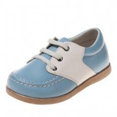 Little Blue Lamb - Zapatos de suela de goma blanda niños   Barcos azules y blancos