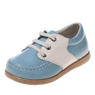 Little Blue Lamb - Zapatos de suela de goma blanda niños | Barcos azules y blancos