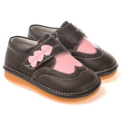 CAROCH - Chaussures à sifflet | Babies noires 3 coeurs rose