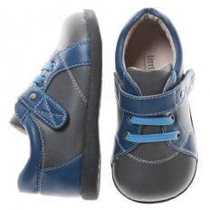 Little Blue Lamb - Soft sole boys Toddler kids baby shoes | Blue and grey
