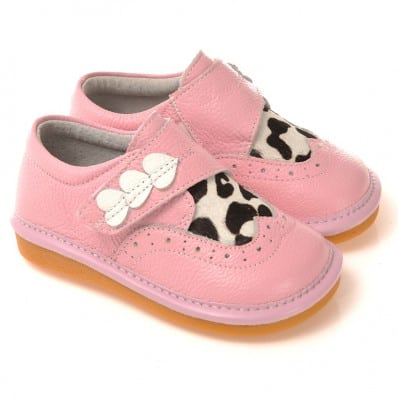 CAROCH - Squeaky Leather Toddler Girls Shoes | Pink babies with 3 hearts cow