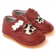 CAROCH - Zapatos de cuero chirriantes - squeaky shoes niñas | 3 corazones rojos vaca blanca