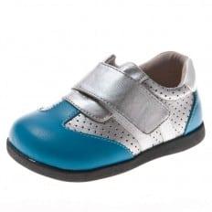 Little Blue Lamb - Krabbelschuhe Babyschuhe  Leder - Jungen | Silber Blau sneakers