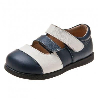 Little Blue Lamb - Chaussures semelle souple | Sandales blanches et bleues