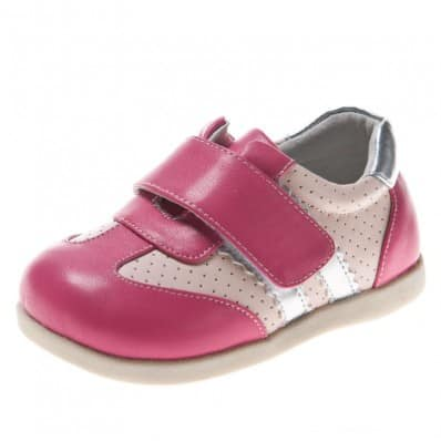 Little Blue Lamb - Soft sole girls Toddler kids baby shoes | Silver pink sneakers