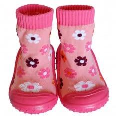 Chaussons-chaussettes enfant antidérapants semelle souple | Fleurs fushia