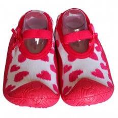 Chaussons-chaussettes enfant antidérapants semelle souple   Ballerines coeurs