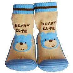 Hausschuhe - Socken Baby Kind geschmeidige Schuhsohle Mädchen Junge | Blau bär