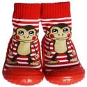 Baby boys Socks shoes with grippy rubber | Monkey red
