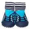 Chaussons-chaussettes nourrisson antidérapants semelle souple | Basket bleu turquoise