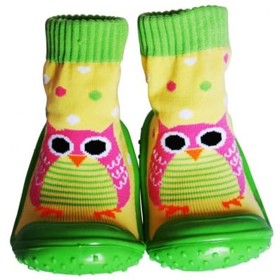 Baby boys girls Socks shoes with grippy rubber | Owl