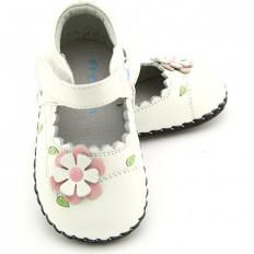 FREYCOO - Krabbelschuhe Babyschuhe Leder - Mädchen | Weiß mit weiß blumen
