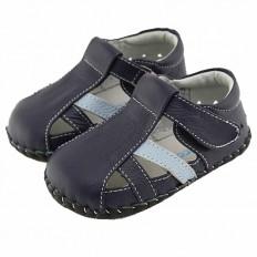 FREYCOO - Scarpine primi passi bimba in morbida pelle | Sandali blu scuro