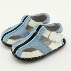 FREYCOO - Baby boys first steps soft leather shoes | Blue sandals black strip