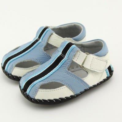 FREYCOO - Chaussures 1er pas cuir souple | Sandales bleu bande noire