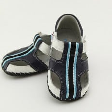 FREYCOO - Baby boys first steps soft leather shoes | Marine blue sandals black strip