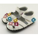 FREYCOO - Baby girls first steps soft leather shoes   White sandals with 3 flowers