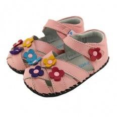 FREYCOO - Zapatos de bebe primeros pasos de cuero niñas | Sandalias rosa 3 flores colores