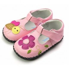 FREYCOO - Zapatos de bebe primeros pasos de cuero niñas | Babies rosa abeja