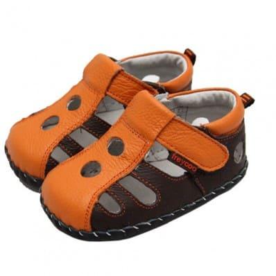 FREYCOO - Chaussures bebe premiers pas cuir souple | Sandales fermées marron et orange C2BB - chaussons, chaussures, chaussettes