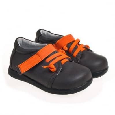 Little Blue Lamb - Chaussures semelle souple   Marron lacets oranges