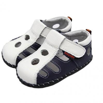 FREYCOO - Krabbelschuhe Babyschuhe Leder - Jungen | Weiß und marineblau sandalen