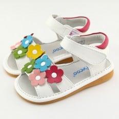 FREYCOO - Scarpine bimba primi passi con fischietto | Sandali bianco fiori colorati