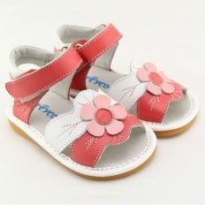 FREYCOO - Squeaky Leather Toddler Girls Shoes | Pink and white sandals