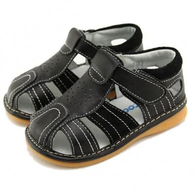 FREYCOO - Squeaky Leather Toddler boys Shoes | Black sandals