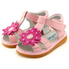 FREYCOO - Squeaky Leather Toddler Girls Shoes | Pink sandals with big pink flower