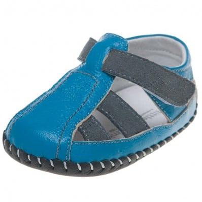 Little Blue Lamb - Chaussures 1er pas cuir souple | Sandales bleu et marron