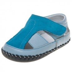 Little Blue Lamb - Baby boys first steps soft leather shoes | Blue and turquoise sandals