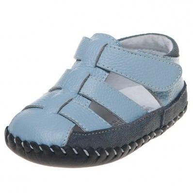 Little Blue Lamb - Chaussures 1er pas cuir souple | Sandales bleu et gris