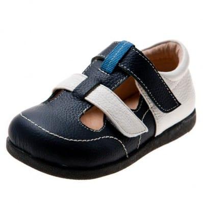 Little Blue Lamb - Zapatos de suela de goma blanda niños | Sandalias cerradas azul marino