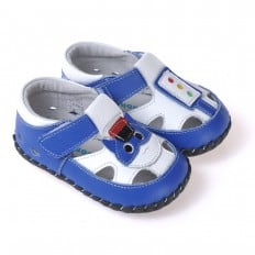 CAROCH - Baby boys first steps soft leather shoes | Blue with small cat sandals