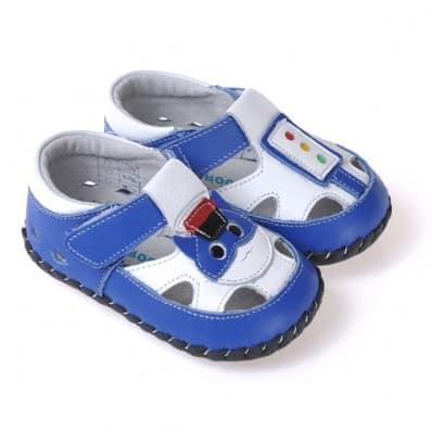 CAROCH - Zapatos de bebe primeros pasos de cuero niños | Sandalias azul pequeño gato