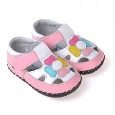 CAROCH - Chaussures premiers pas cuir souple | Sandales blanches rose fleur multicolore