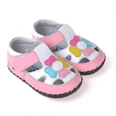 CAROCH - Krabbelschuhe Babyschuhe Leder - Mädchen | Sandalen mit multicolore blume