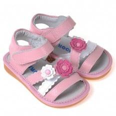 CAROCH - Chaussures à sifflet | Sandales fleur rose et blanche