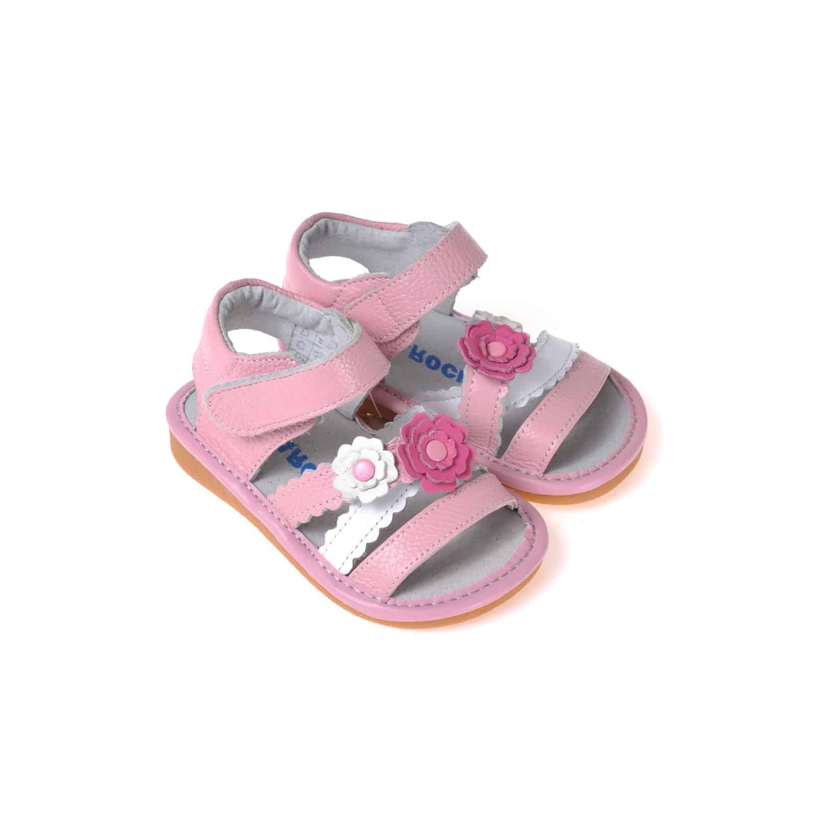 Caroch squeaky leather toddler girls shoes pink and white caroch squeaky leather toddler girls shoes pink and white flowers sandals mightylinksfo