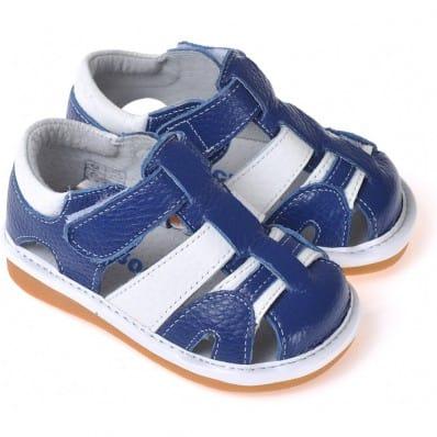 CAROCH - Zapatos de cuero chirriantes - squeaky shoes niños | Sandalias blancas y azul