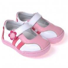 CAROCH - Zapatos de suela de goma blanda niñas | Zapatillas de deporte blancas y rosa