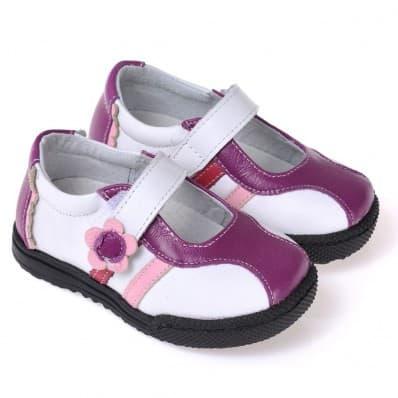 CAROCH - Krabbelschuhe Babyschuhe Leder - Mädchen | Weiß und violett sneakers